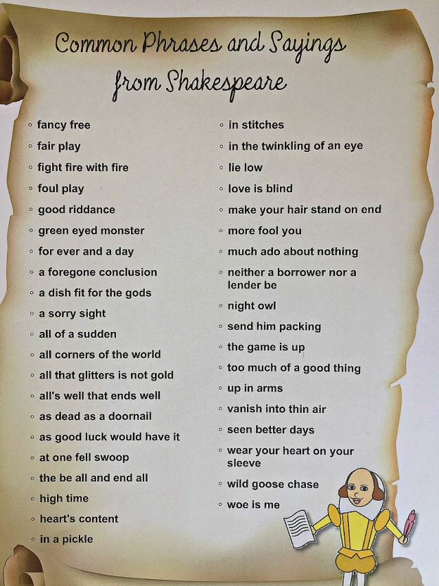 Common Phrases and sayings from Shakespeare. Downloaded from the Activity Village website