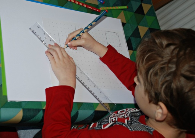 Creating his own angles on spotted grid paper