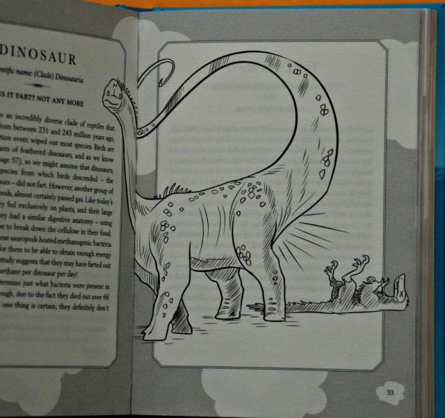 Does It Fart Book. A book about animal flatulence. The Dinosaur picture