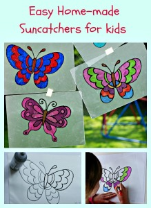 Easy and Fun home-made suncatcher craft for children.  perfect for Spring, Summer and as a Minibeast activity