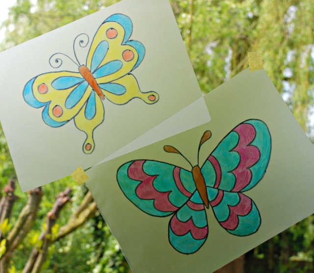 Easy to make suncatchers using laminating pouches and sharpies