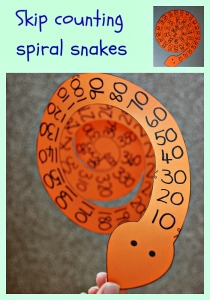 Fun and Easy to make.  Skip counting spiral snakes.  Counting in 10's, 5's and 3's
