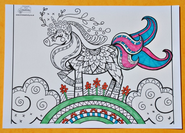 Mrs Mactivity detailed Unicorn colouring page part of their premium package