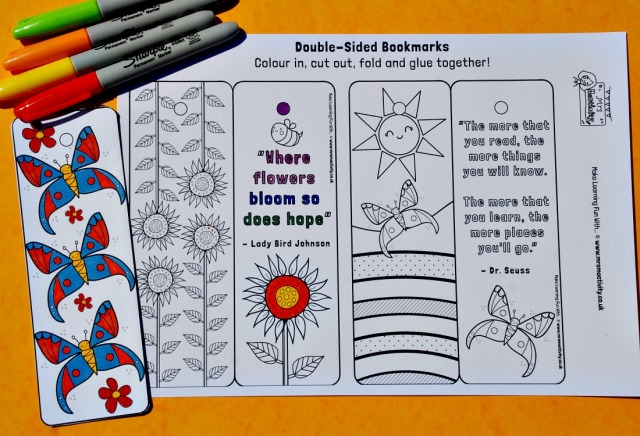 Mrs Mactivity Spring themed colouring bookmarks