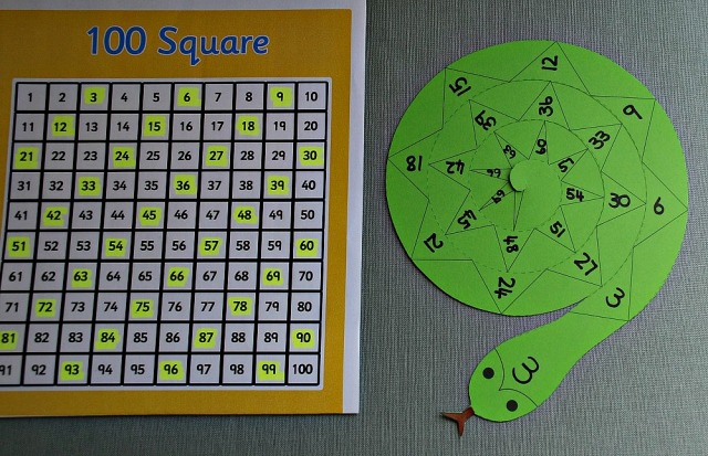 Using a spiral snake to practice counting in 3's