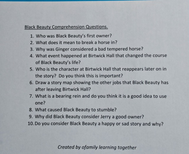 Comprehension Questions for Black Beauty