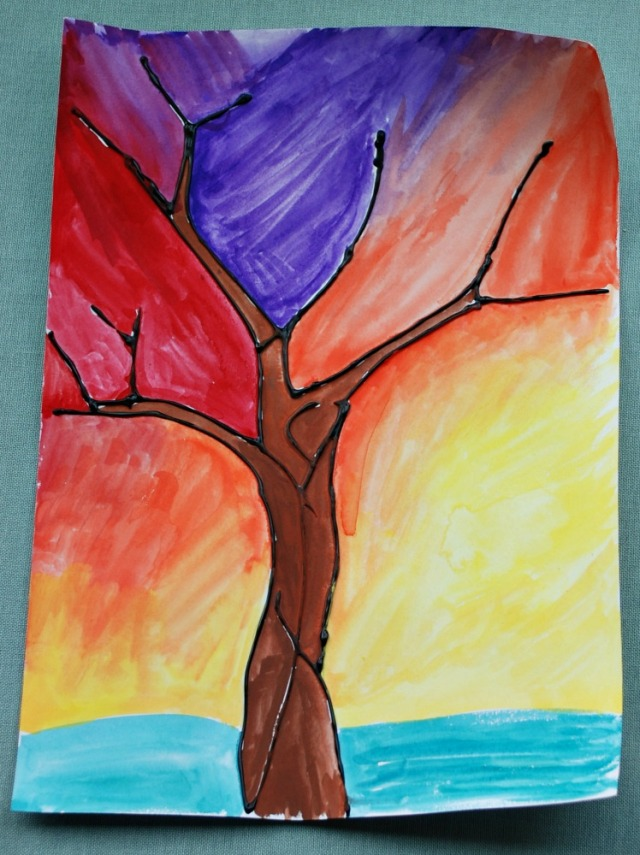 Dimensional Paint and watercolour tree picture