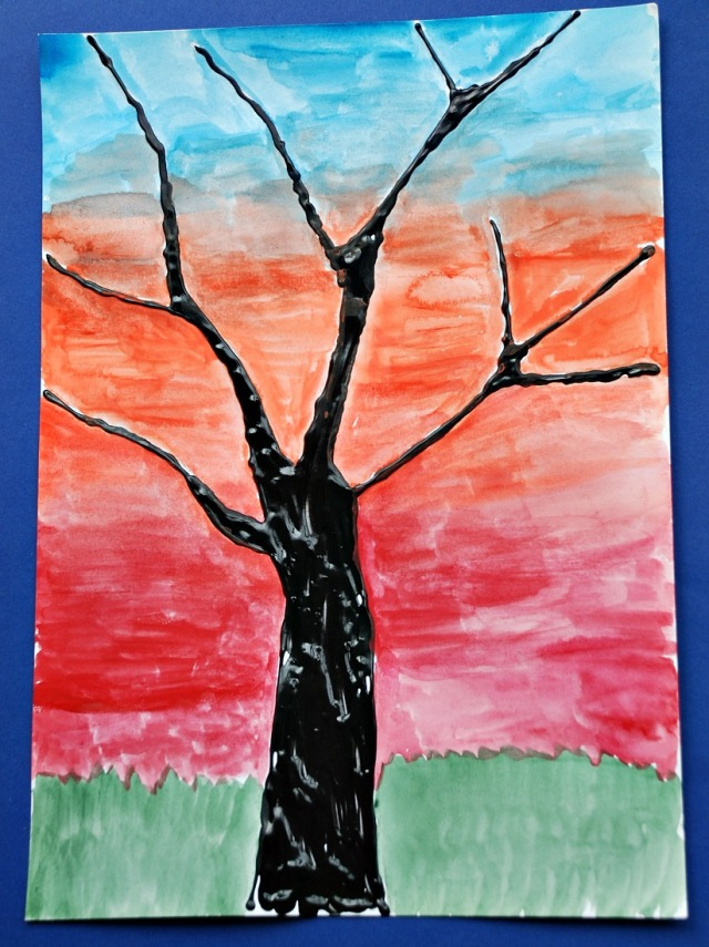 Easy and stunning children's art. Dimensional paint tree with watercolour paints