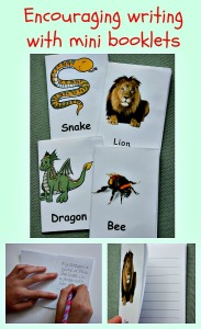 Encouraging writing with mini booklets from Activity Village.  Lots of different versions to choose from