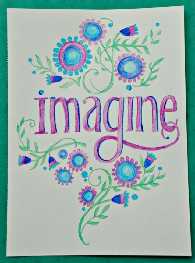 Just Add Watercolours Happy Thoughts book by Robin Pickens. The Imagine template completed by one of my kids