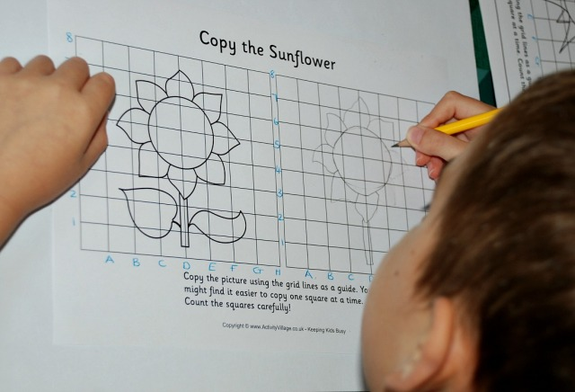 Grid Copy Sunflower picture from Activity Village with the 2 axis labelled to help the kids