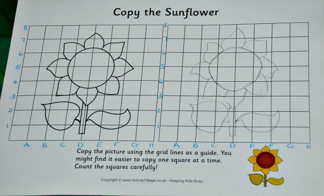 Grid Copy Sunflower page from Activity Village with the x and y axis labelled for the kids