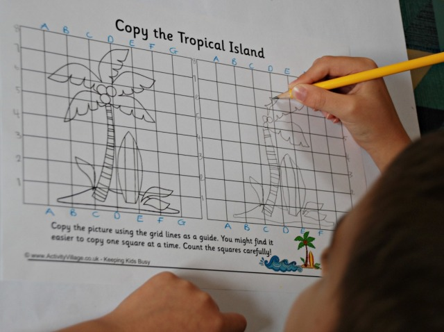 Grid Copy the Tropical Island page from Activity Village