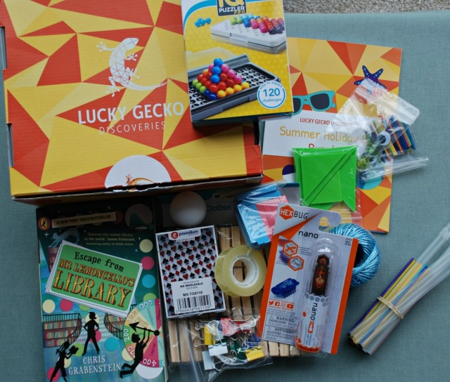 Lucky Gecko Summer Box 2018. Lots of puzzles and challenges to keep the kids thinking over the summer