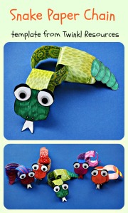 Snake Paper Chain Craft Activity.  Made using a template from Twinkl Resources