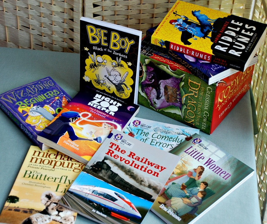 A few Summer Reading Ideas. How to Train Your Dragon, Riddle of the Runes, Night Zookpeeper, Bee Boy, Little Women, Butterfly Lion