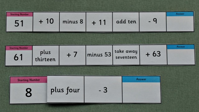 The Mental Maths Gym pages from Activity Village cut into strips so that we can mix up the order