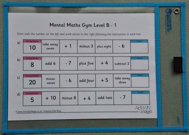 Activity Village Mental Maths Gym Pages inside our Write and Wipe pockets