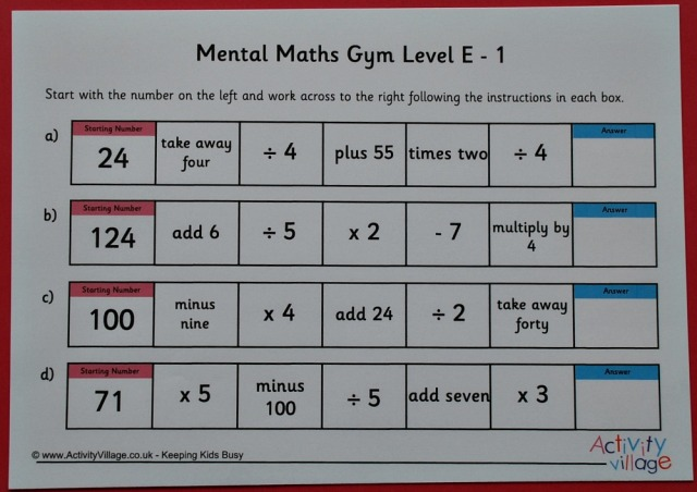 Activity Village Mental Maths Gym Set E. Maths practice pages
