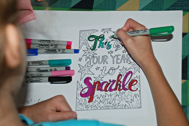 Colouring Card - This is Your Year to Sparkle from Activity Village