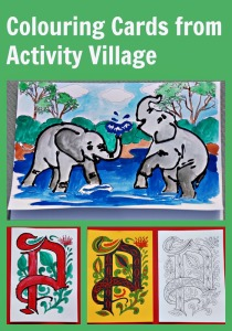 Colouring Cards from Activity Village. Wide range. great way for the kids to get involved in making their own cards