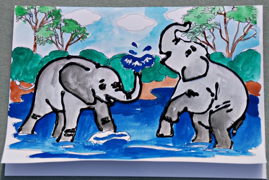 Elephant Scene colouring card from Activity Village. Elephants outlined with dimensional paint