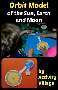 Paper craft orbit model or the earth orbiting the sun and the moon orbiting the earth