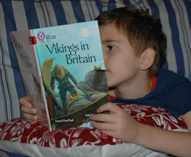 reading his BIG CAT reader Vikings in Britain