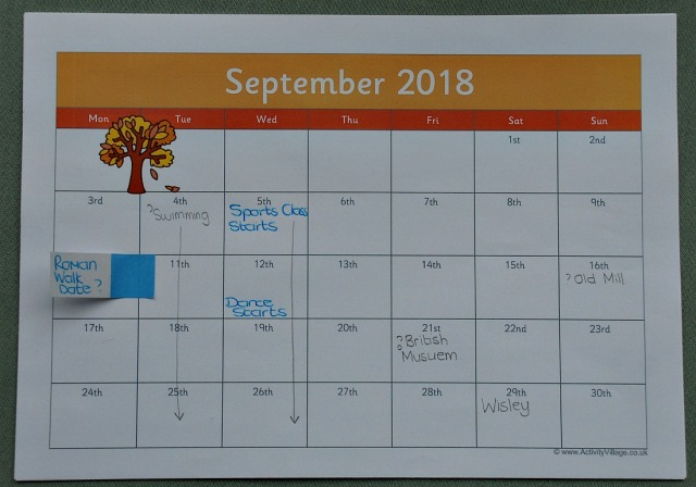 Using a Monthly Calendar for some planning