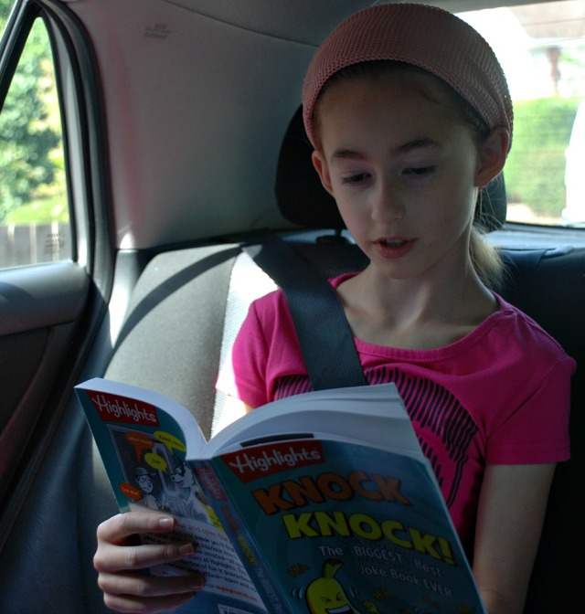 Using the Knock Knock! Joke book in a car trip to keep the kids entertained