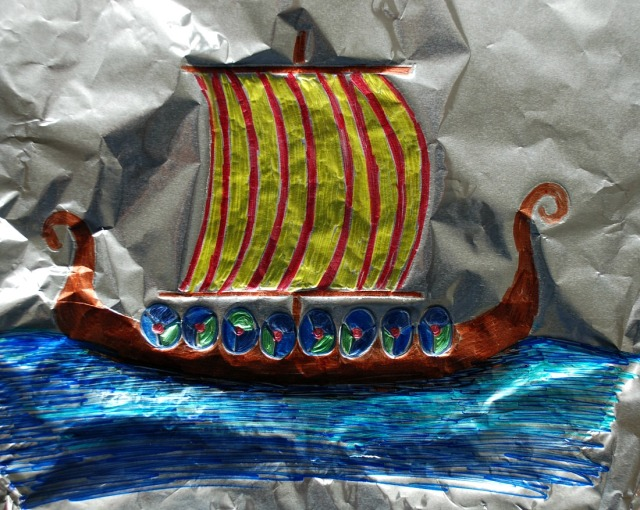 Viking Longship art activity on tin foil. Fun art project for kids to do when they learn about the Vikings