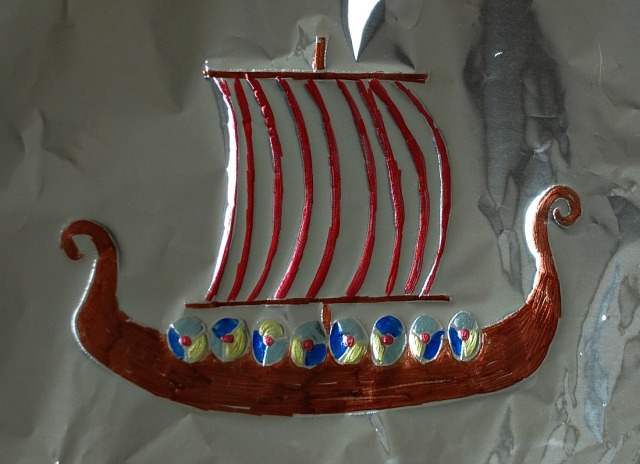 Viking Longship on tin foil