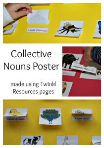 Easy to make Poster for Collective Nouns. Perfect for learning at home. Made using pages from Twinkl Resources