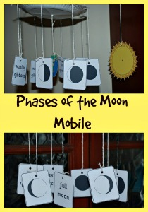 Phases of the Moo Mobile mad using matching cards from the Activity Village site. Great as a visual aid for home education