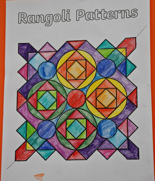 Using the Rangoli Pattern colouring page to explain lines of symmetry