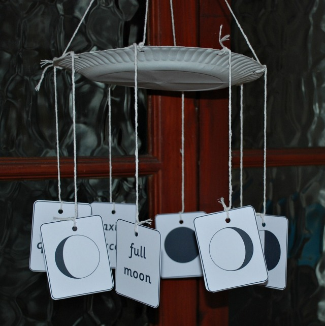 Phases of the Moon mobile. Created using the moon phase matching cards from Activity Village