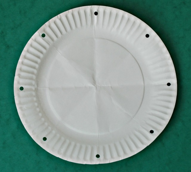 paper plate folded 3 times to get 8 equal lines