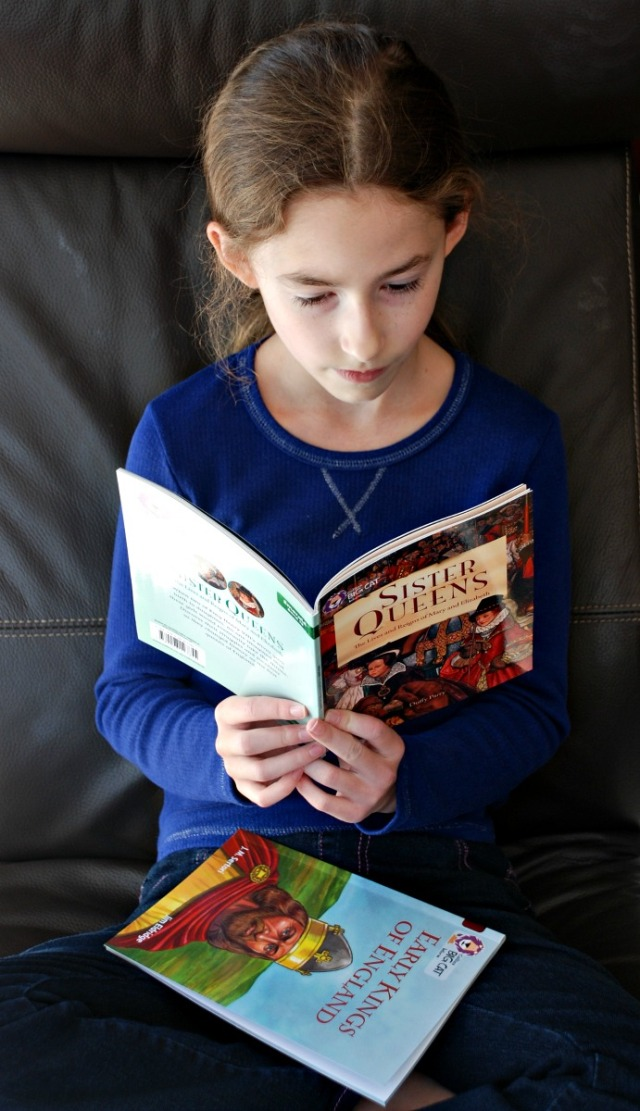 reading the Sisiter Queens BIG CAT reader at home. Great way to introduce History topics