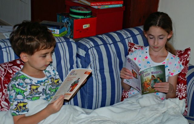 Reading their BIG CAT readers together