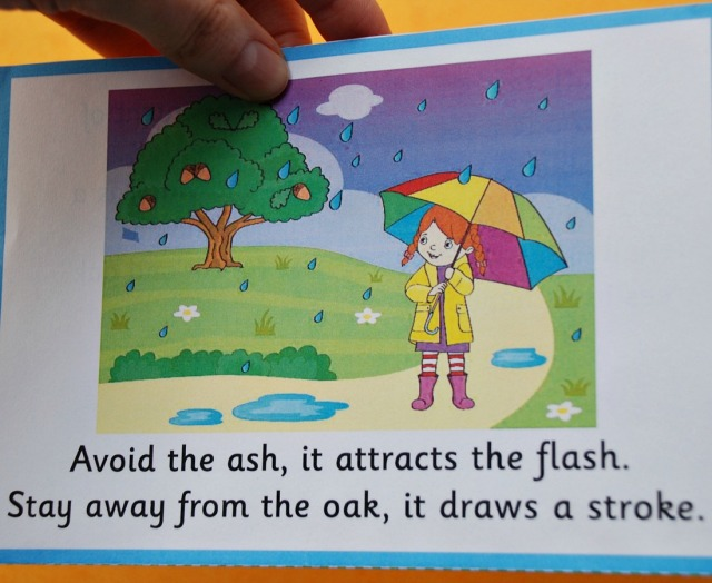 Weather Myths flashcards from Activty Village. One side has the picture and quote and the other side the explanation on it