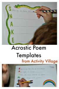 Acrostic Poem Templates from Activity Village.  A fun way to encourage writing.