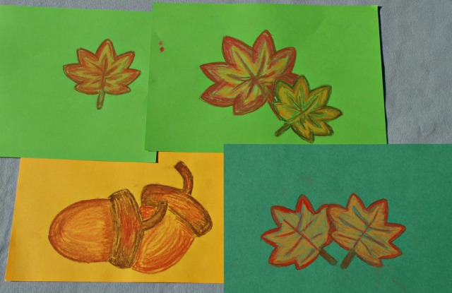 chalk pastel pictures created using Activity Village stencils and STABILO chalk pastels