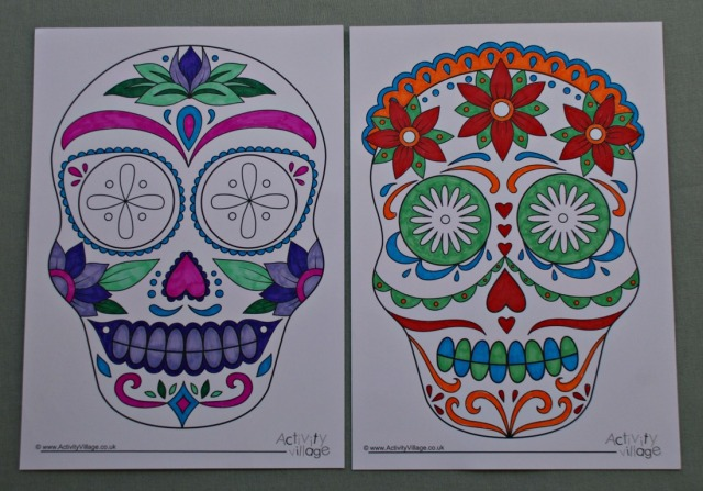 Day of the Dead colouring pages from Activity Village