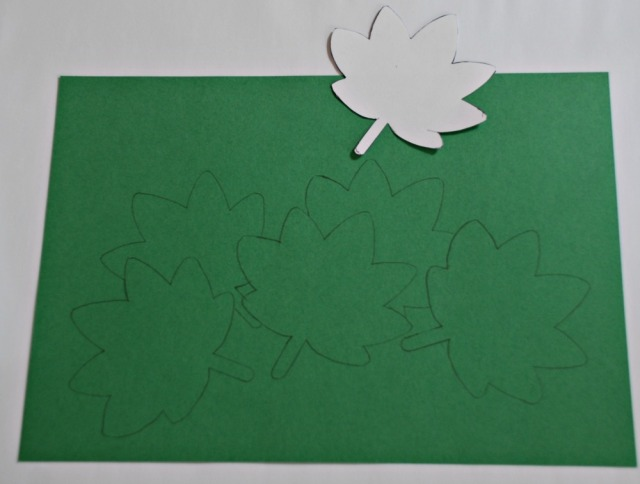 Drawing a leaf picture using templates from Activity Village