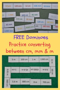 Free to download measurement dominoes. Helps kids to practice converting between cm, mm and m