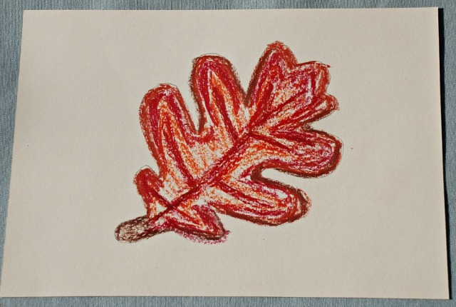 Oak leaf created using oil pastels