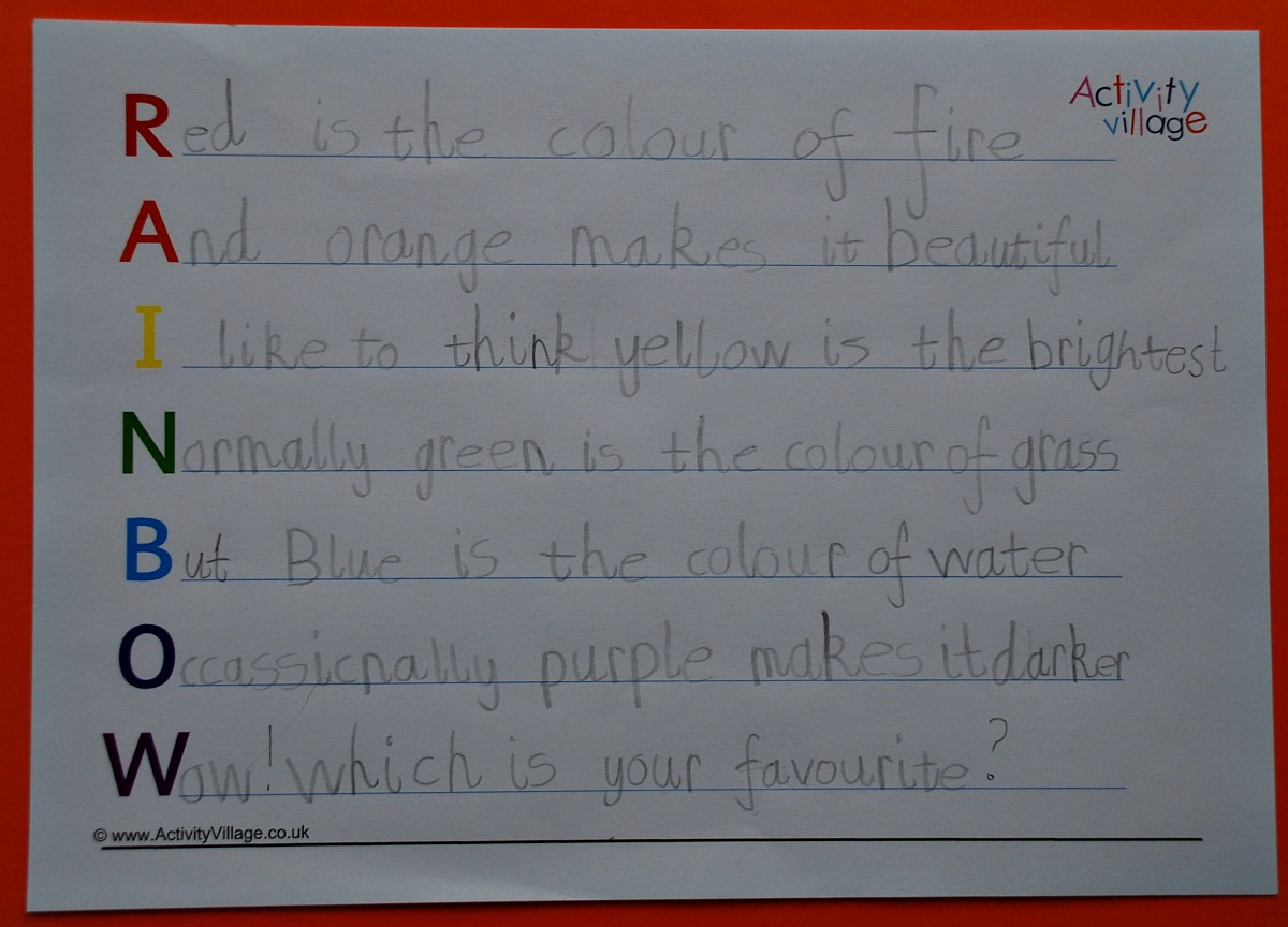 Rainbow Acrostic Poem written using the pages from the Activity Village website