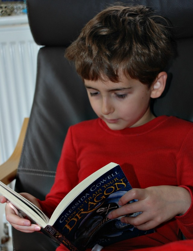 reading one of the How to Train Your Dragon books
