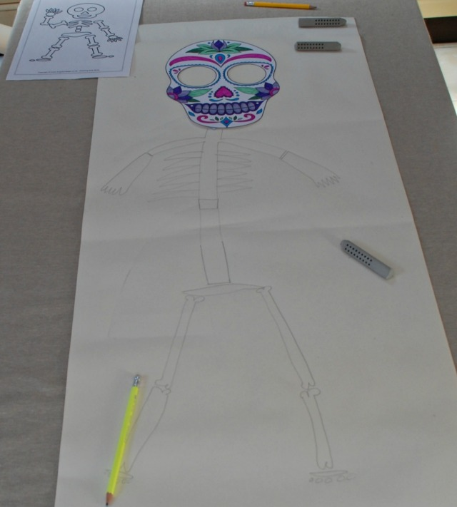 Skeleton to go with the Day of the Dead colouring page from Activity Village