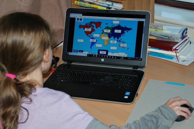 Twinkl Go - using the interactive screens as a way to test her knowledge